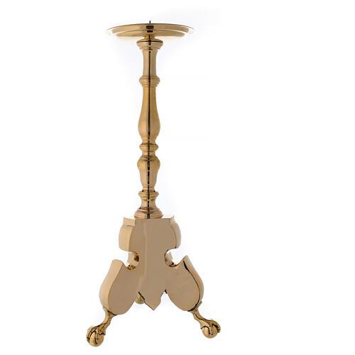 Candeliere altare tre piedi ottone lucido h 80 cm 4