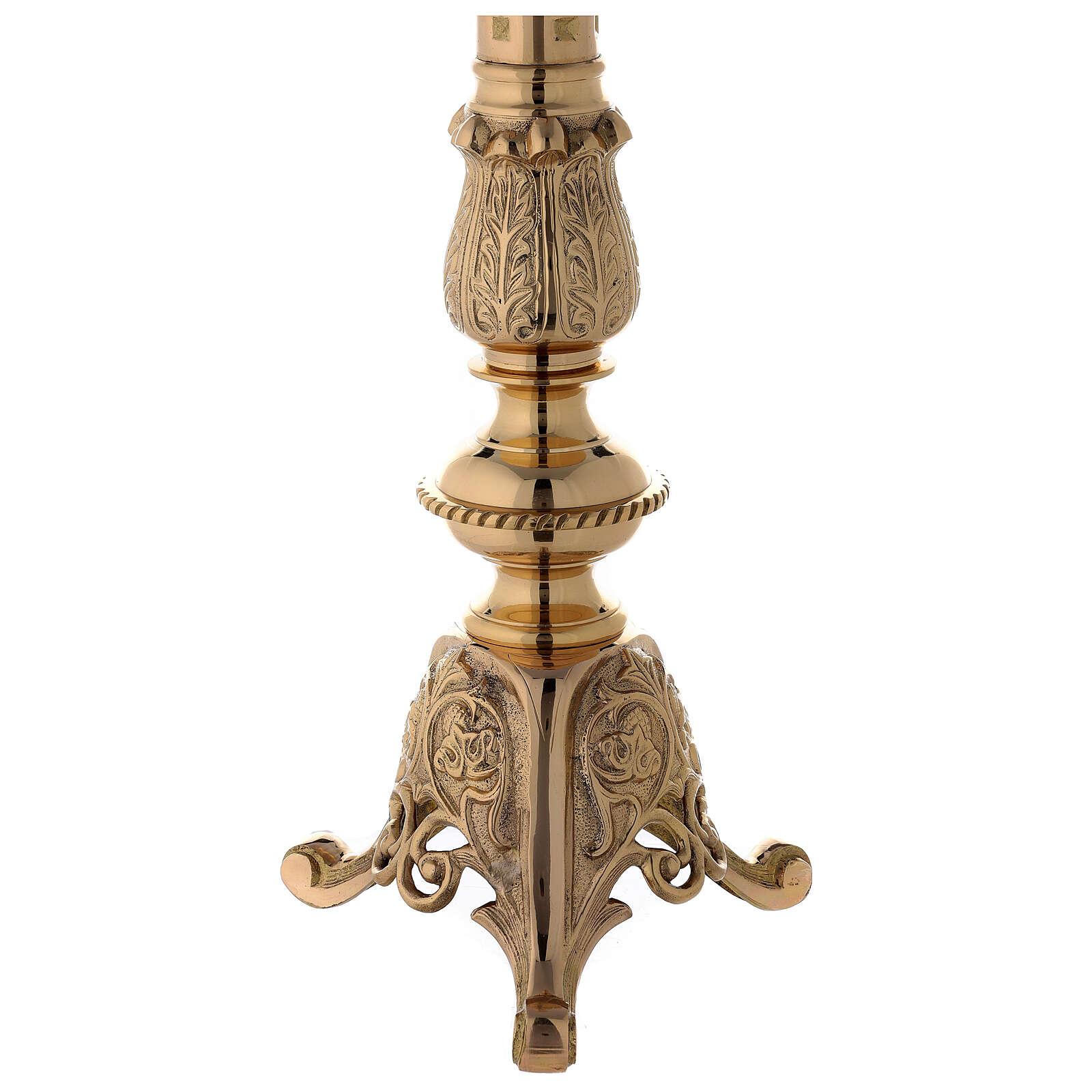 Candeliere altare ottone lucido punzone h 85 cm 4