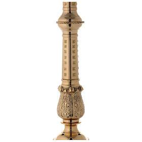 Candeliere altare ottone lucido punzone h 85 cm s4