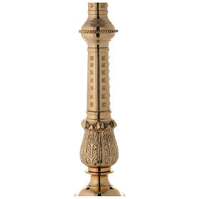 Polished brass altar candlestick with spike h 33 1/2 in s4