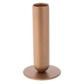 Porta-vela ferro dourado bocal alto h 12 cm s2