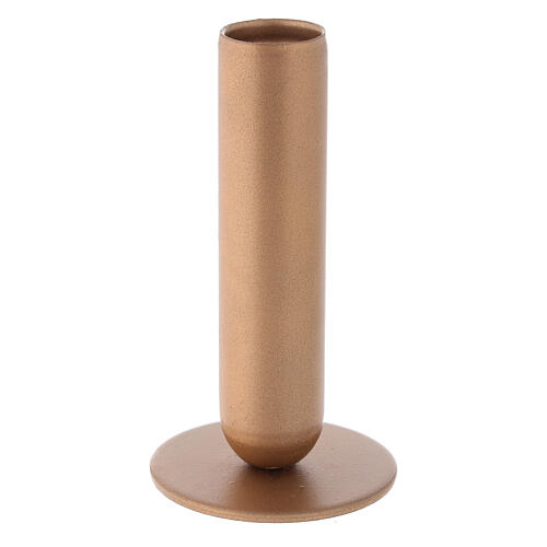 Porta-vela ferro dourado bocal alto h 12 cm 1