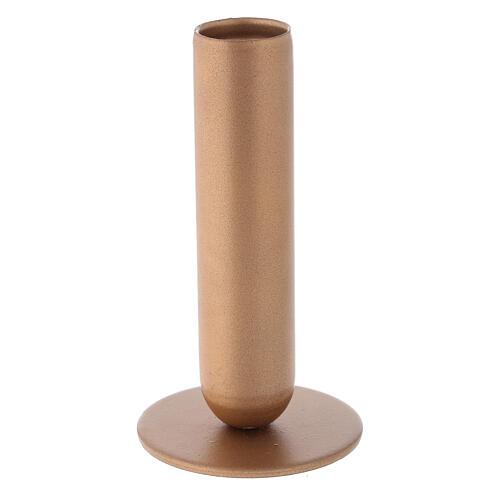 Porta-vela ferro dourado bocal alto h 12 cm 2