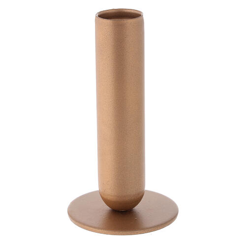 Gold-colored iron candlestick high socket h 4 3/4 in 2