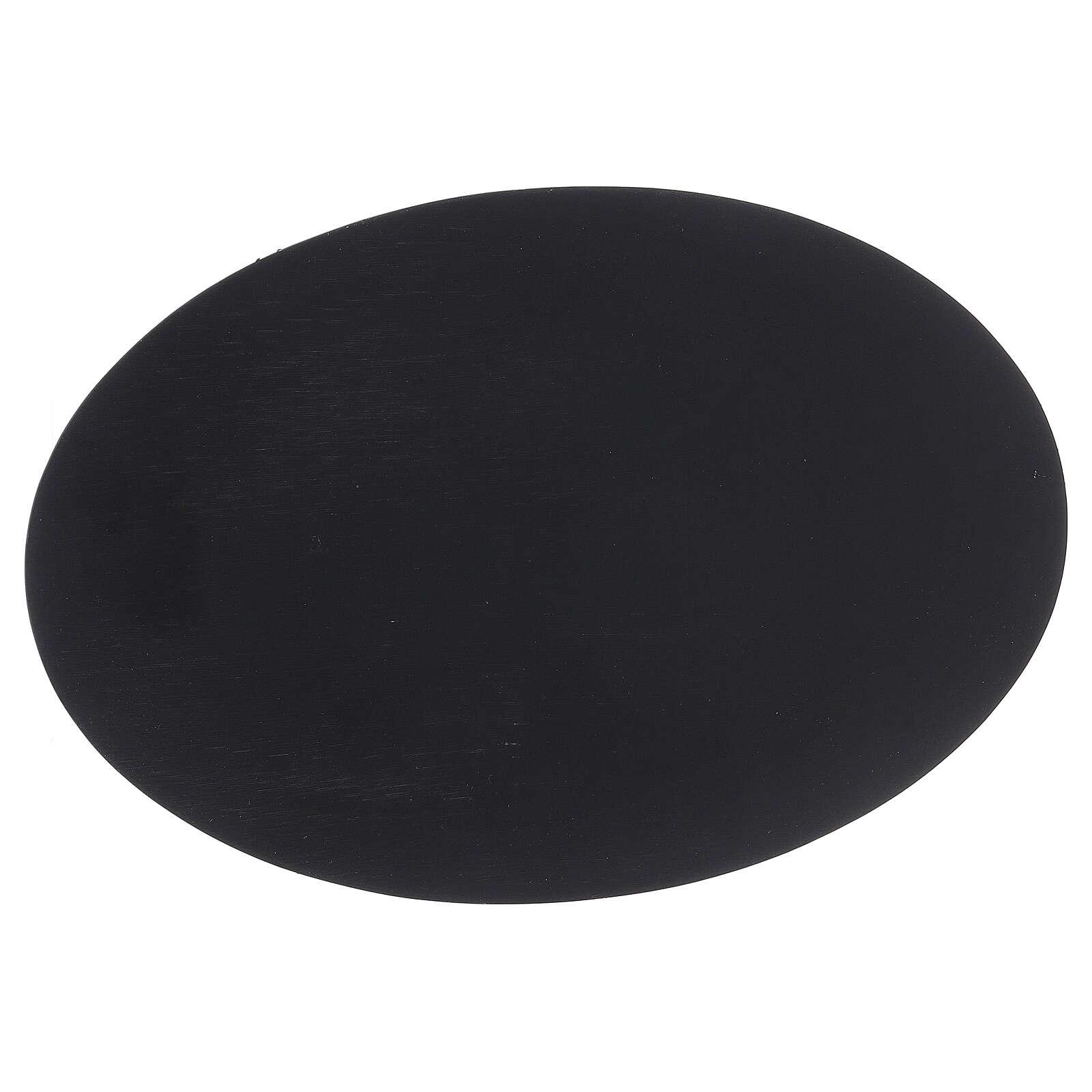 Piatto portacandela ovale effetto pietra nera 20,5x14 cm 3