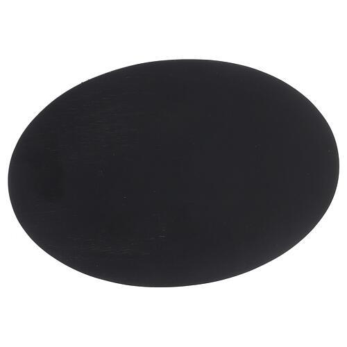 Piatto portacandela ovale effetto pietra nera 20,5x14 cm 2