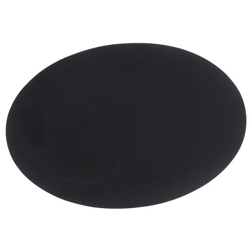 Oval candle holder plate black stone effect 8x5 1/2 in 2