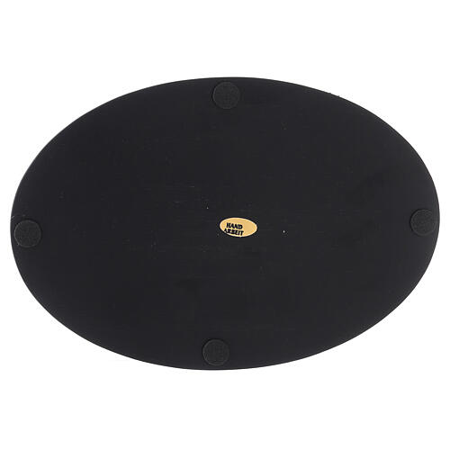 Oval candle holder plate black stone effect 8x5 1/2 in 3