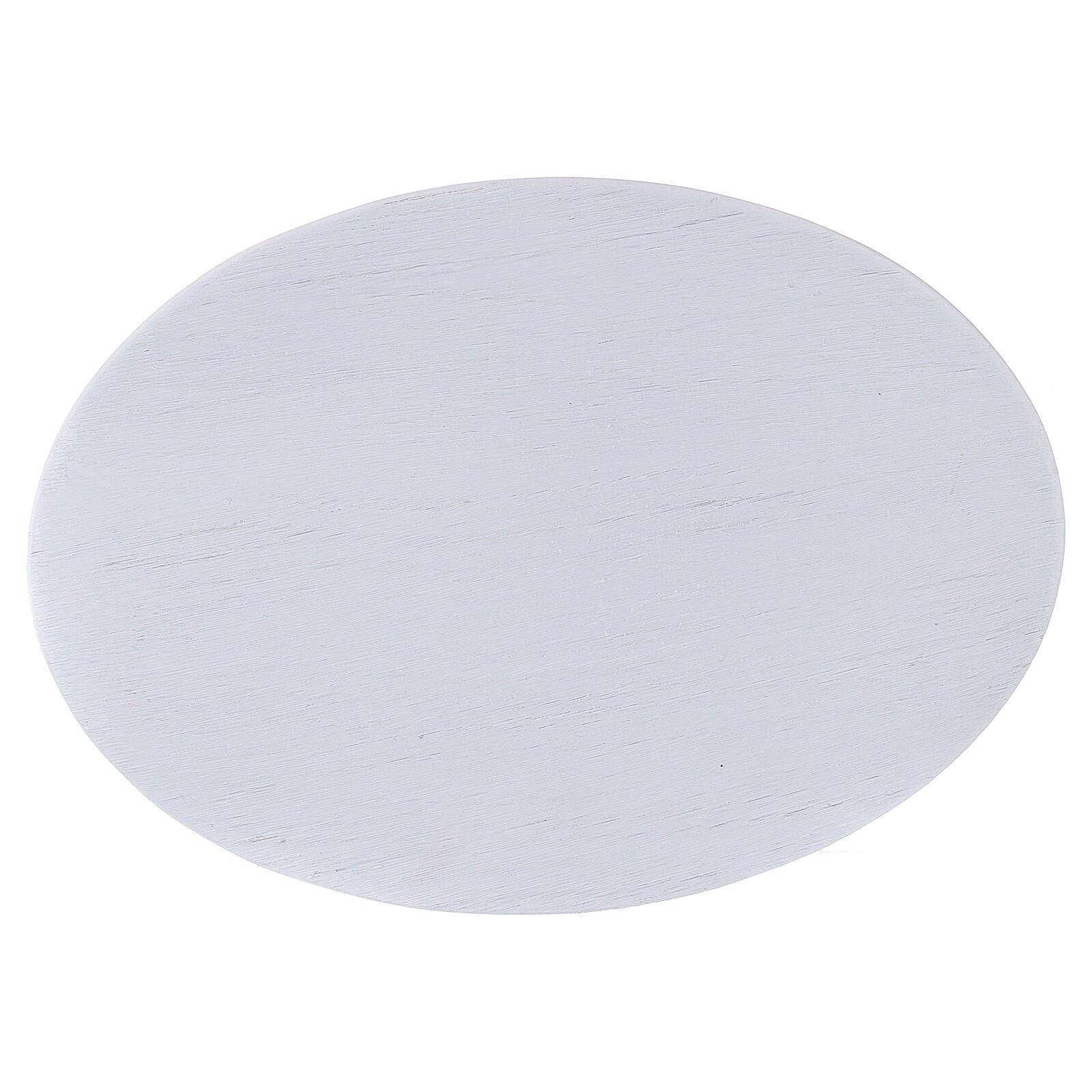 Plato portacirio aluminio blanco cepillado 17x12 cm 3