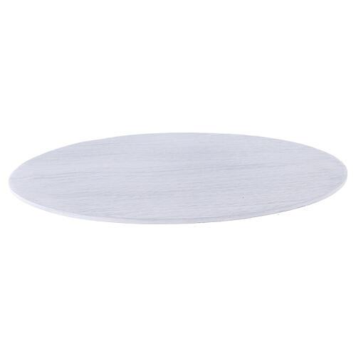 Plato portacirio aluminio blanco cepillado 17x12 cm 1