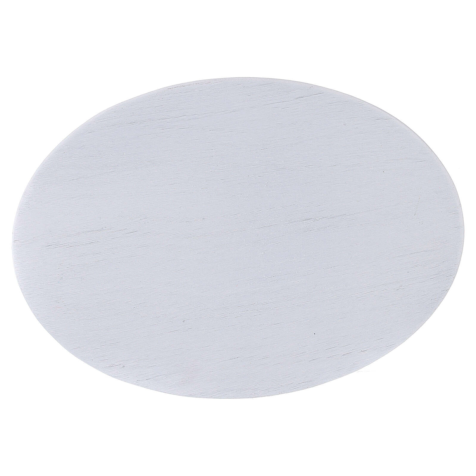 Assiette bougeoir aluminium blanc brossé 17x12 cm 3