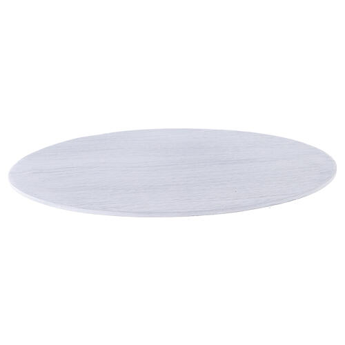 Assiette bougeoir aluminium blanc brossé 17x12 cm 1