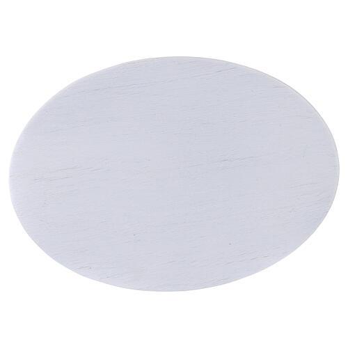 Assiette bougeoir aluminium blanc brossé 17x12 cm 2