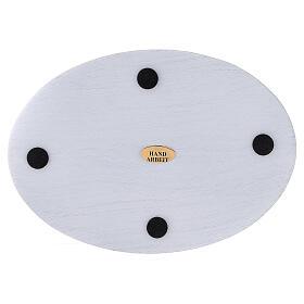 Piatto portacero alluminio bianco spazzolato 17x12 cm s3