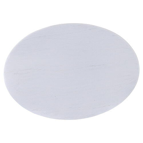 Brushed white aluminium candle holder plate 6 3/4x4 3/4 in 2
