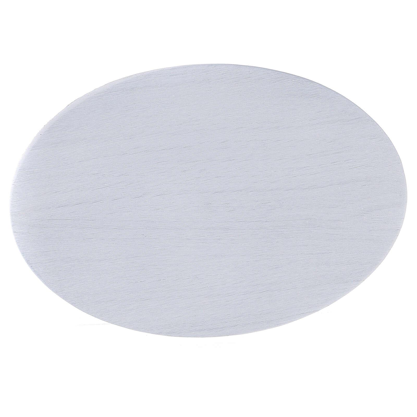 Plato portacirio aluminio blanco ovalado 20,5x14 cm 3