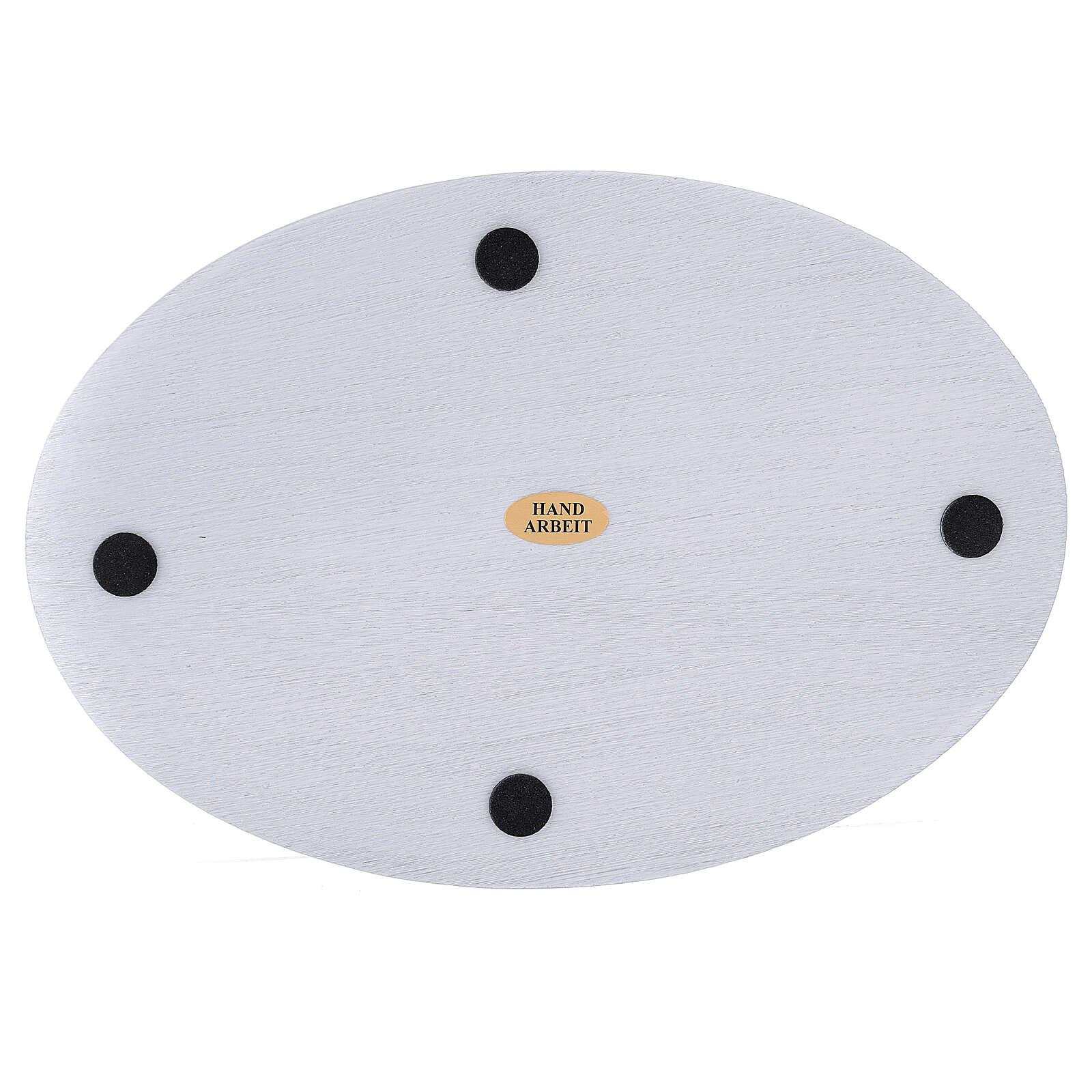 Assiette bougeoir aluminium blanc ovale 20,5x14 cm 3