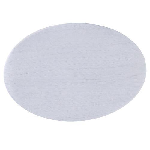 Prato porta-vela alumínio branco oval 20,5x14 cm 2