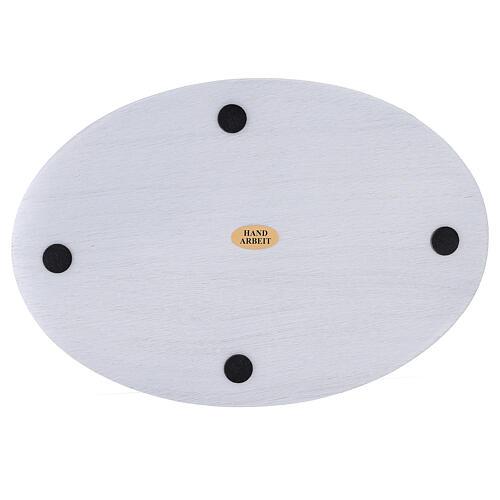 Prato porta-vela alumínio branco oval 20,5x14 cm 3