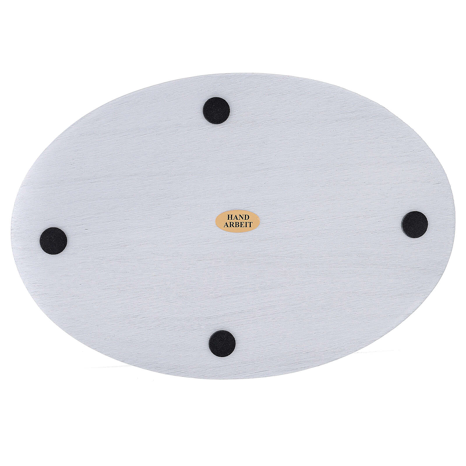 Oval white aluminium candle holder plate 8x5 1/2 in 3