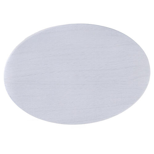 Oval white aluminium candle holder plate 8x5 1/2 in 2