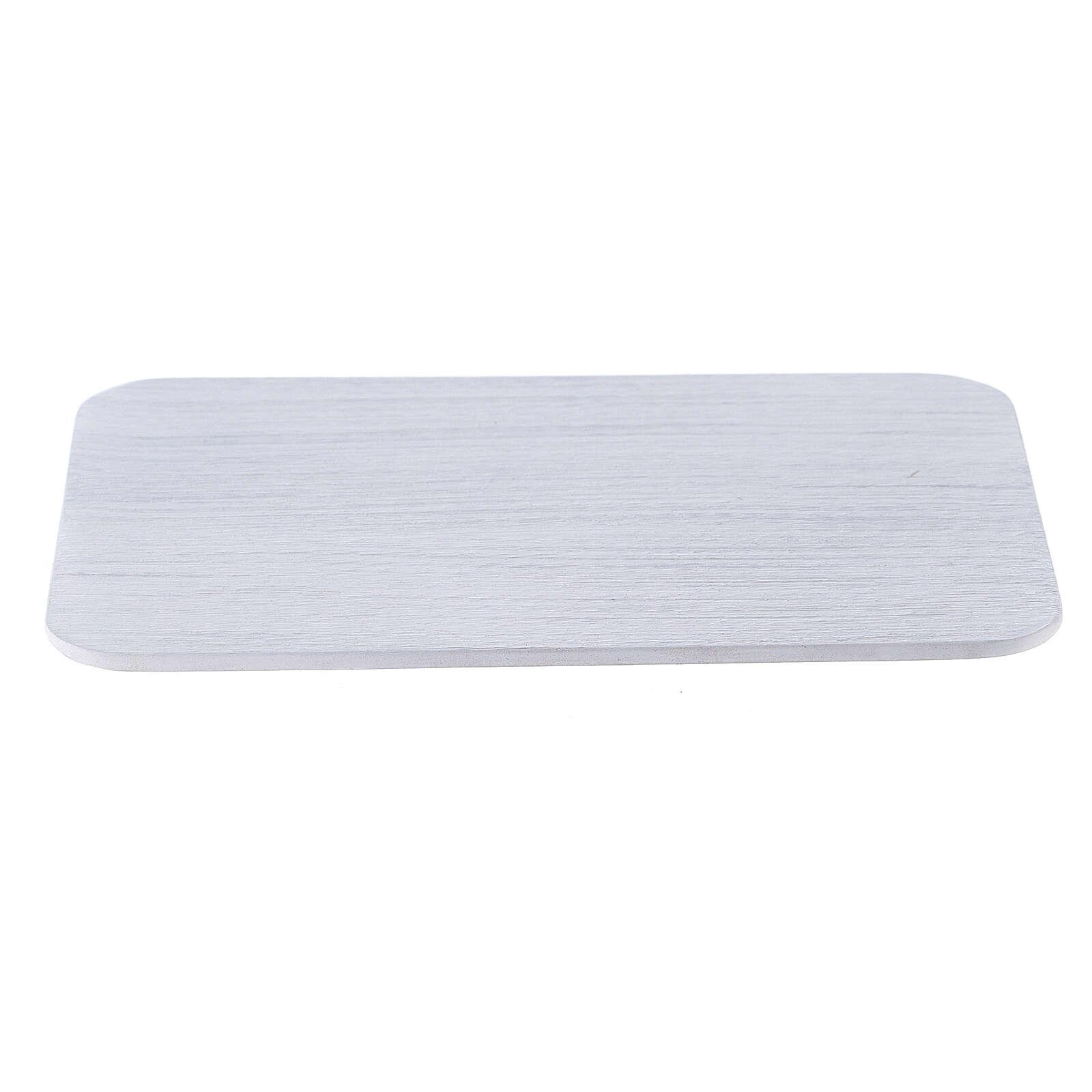 Assiette rectangulaire à bougie aluminium brossé 13,5x10 cm 3