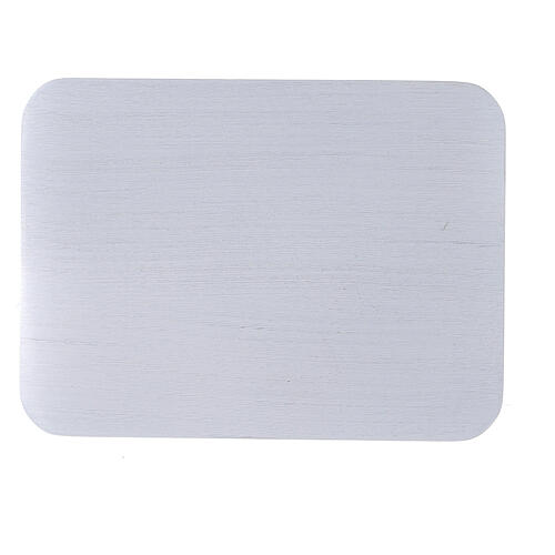 Rectangular candle holder plate in brushed aluminium 5 1/4x4 in 2