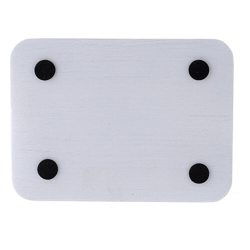 Rectangular candle holder plate in brushed aluminium 5 1/4x4 in 3