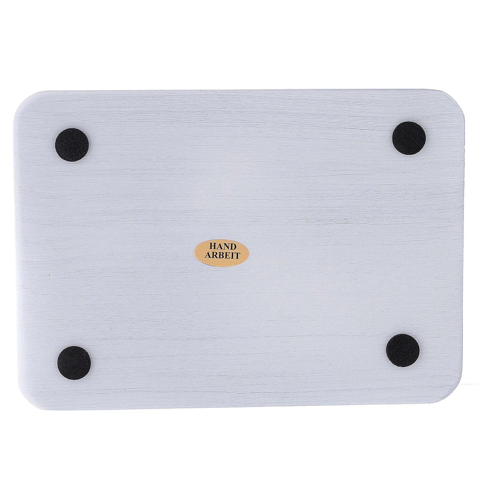 Brushed aluminium rectangular candle holder plate 6 3/4x4 3/4 in 3