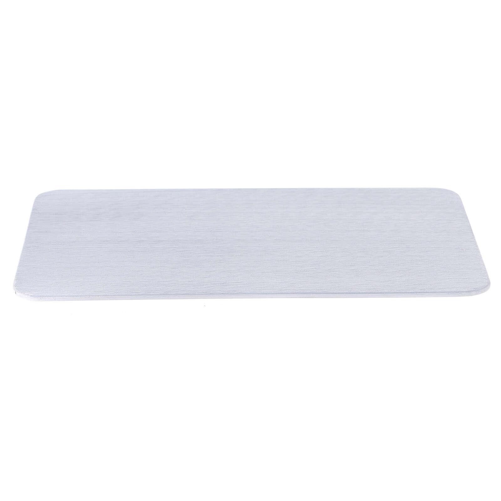 Piatto portacandela alluminio spazzolato 20x14 cm rettangolare 3