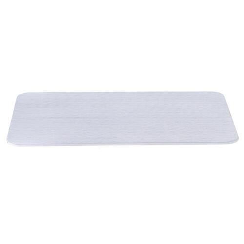 Piatto portacandela alluminio spazzolato 20x14 cm rettangolare 1