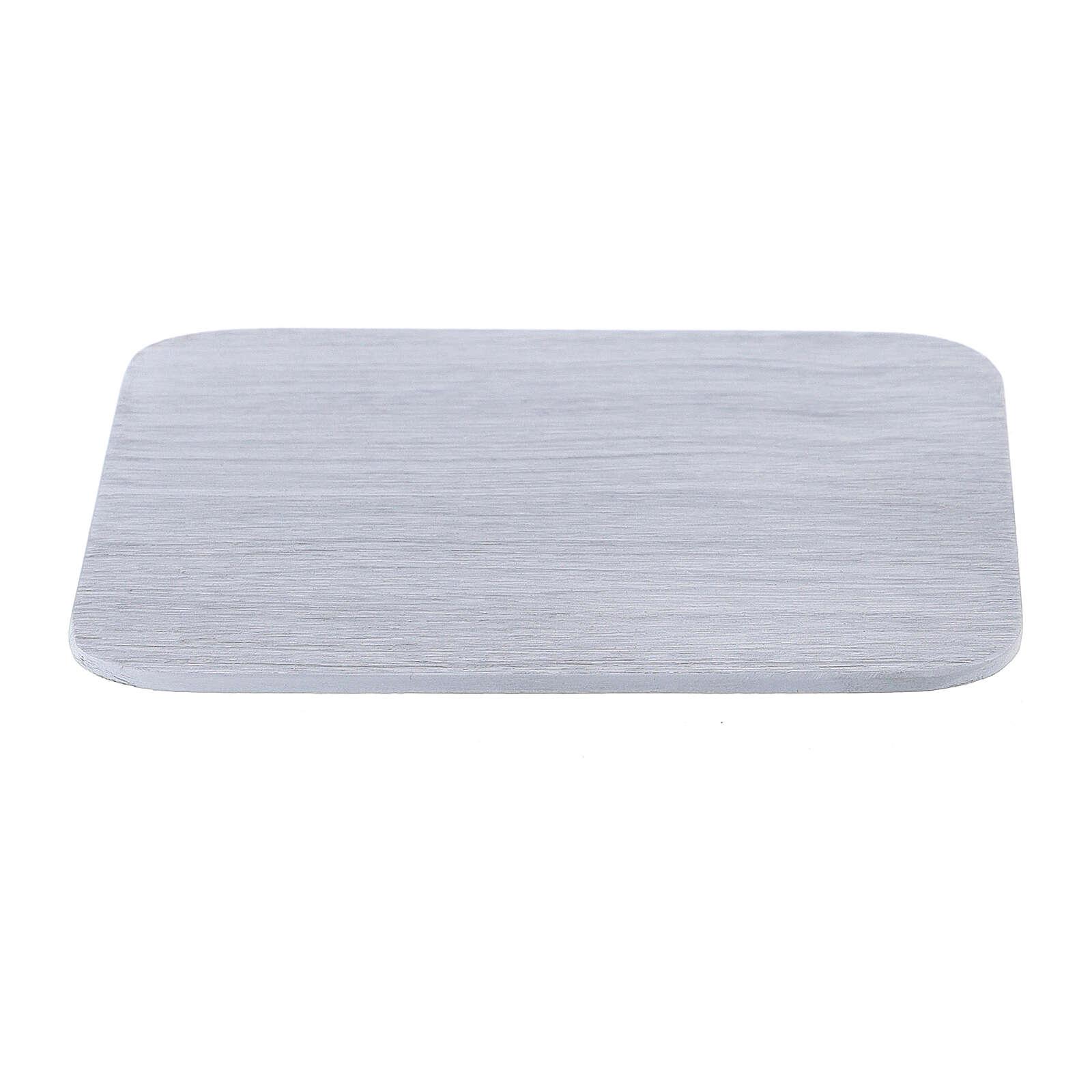 Plato cuadrado aluminio blanco cepillado 10x10 cm 3
