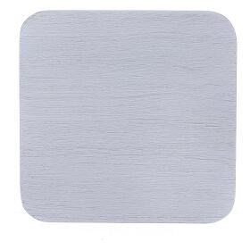 Plato cuadrado aluminio blanco cepillado 10x10 cm s2