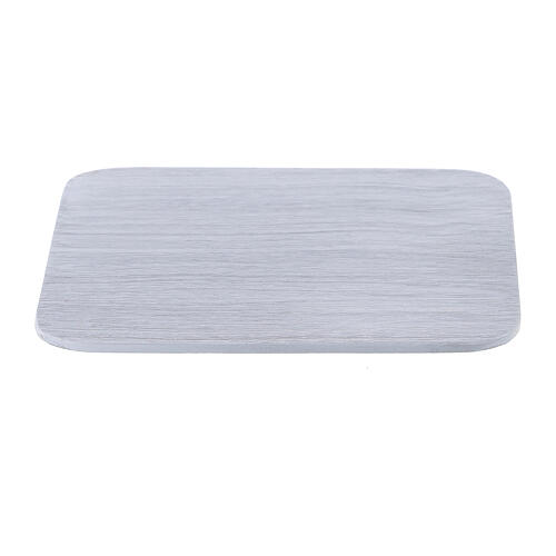 Plato cuadrado aluminio blanco cepillado 10x10 cm 1
