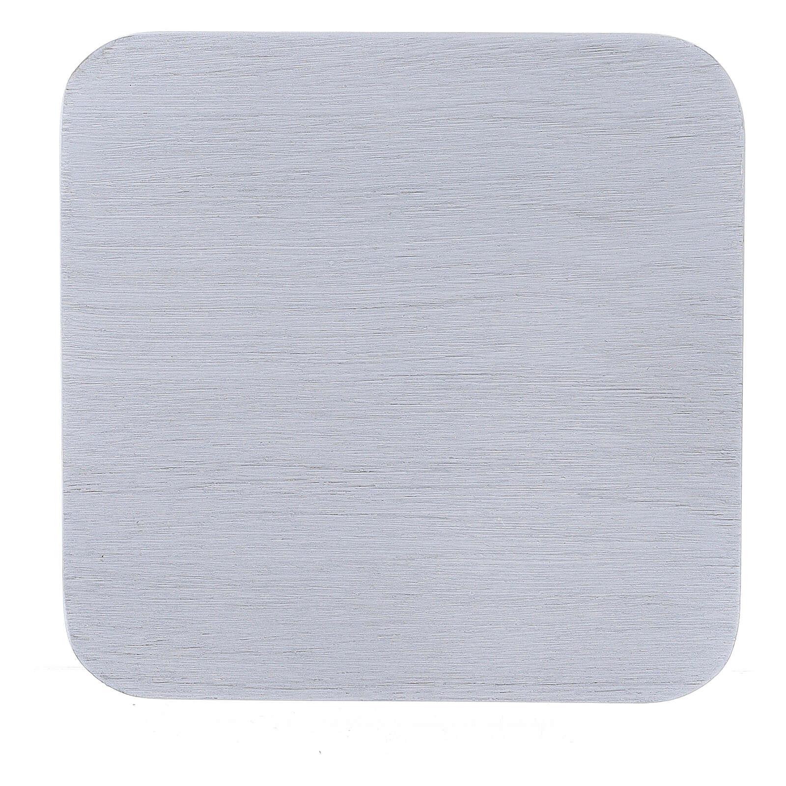 Assiette carrée aluminium blanc brossé 10x10 cm 3