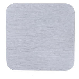 Assiette carrée aluminium blanc brossé 10x10 cm s2
