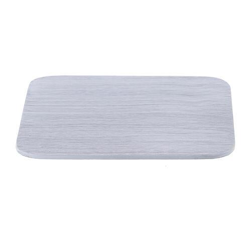 Assiette carrée aluminium blanc brossé 10x10 cm 1