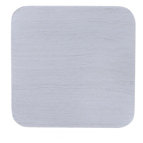 Assiette carrée aluminium blanc brossé 10x10 cm 2