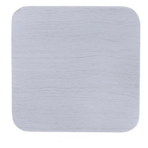 Prato quadrado alumínio branco escovado 10x10 cm 2