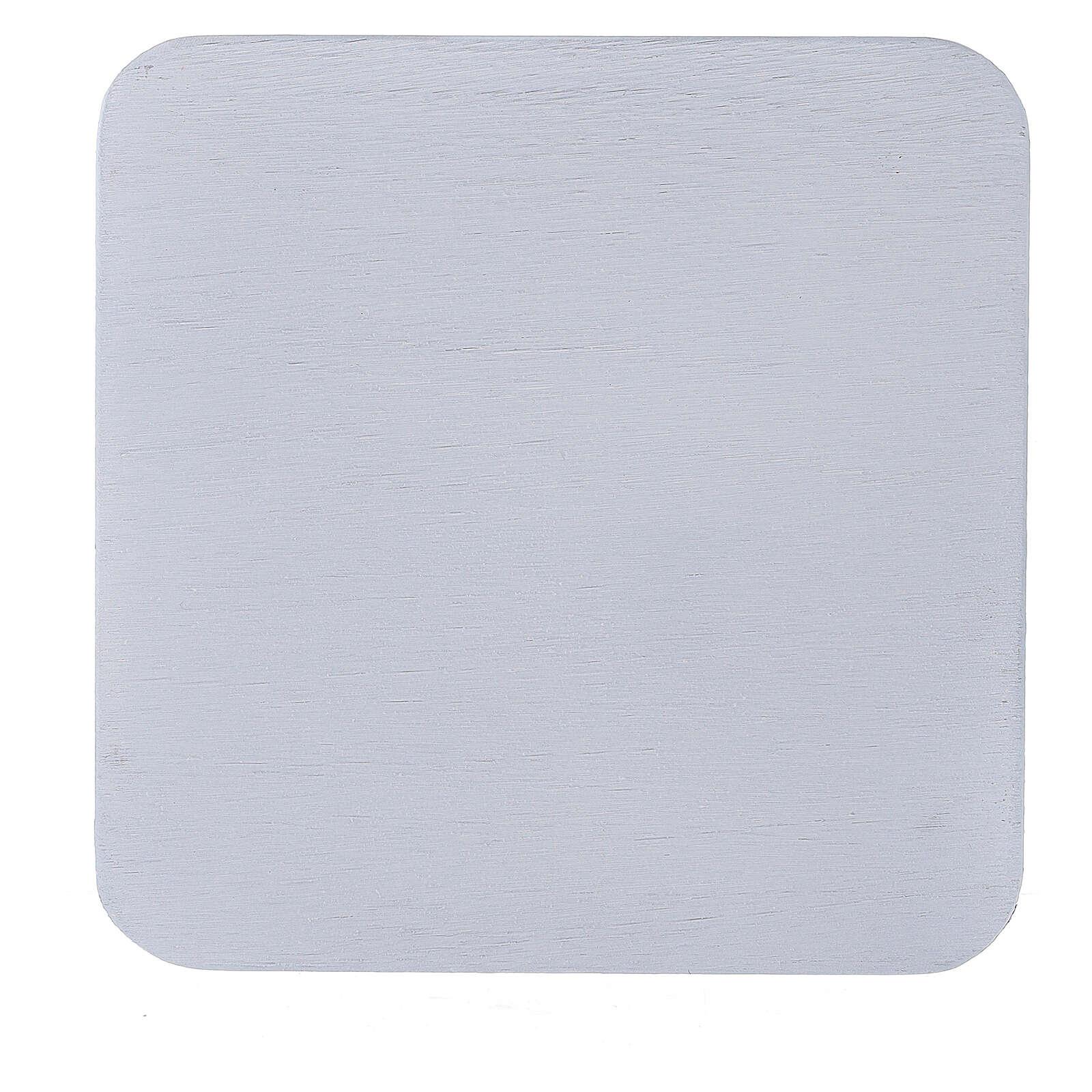 Plato portacirio cuadrado aluminio blanco 12x12 cm 3