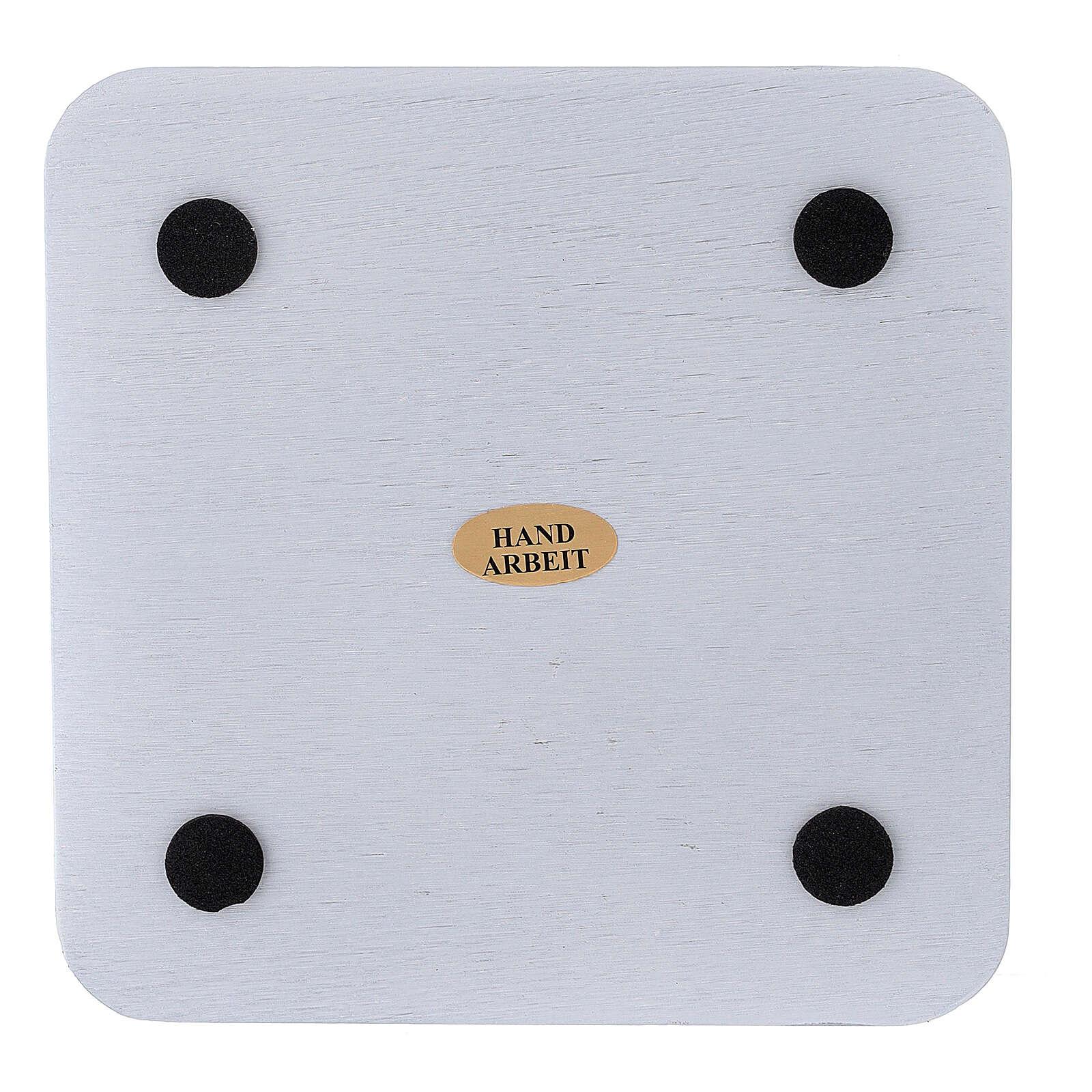 Assiette bougeoir carrée aluminium blanc 12x12 cm 3