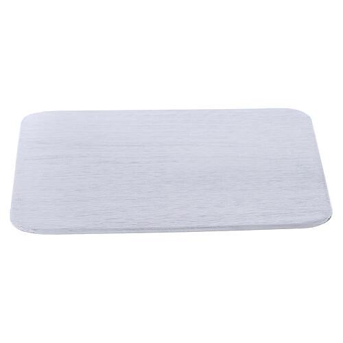 Assiette bougeoir carrée aluminium blanc 12x12 cm 1