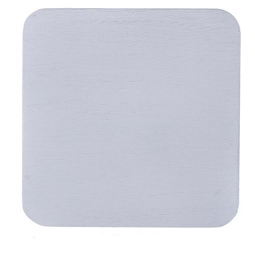 Assiette bougeoir carrée aluminium blanc 12x12 cm 2