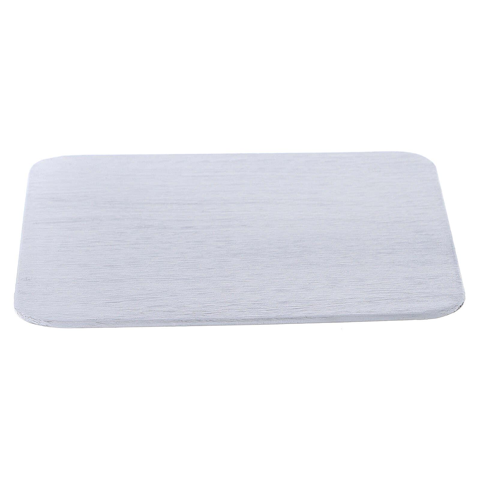 Piatto portacero quadrato alluminio bianco 12x12 cm 3