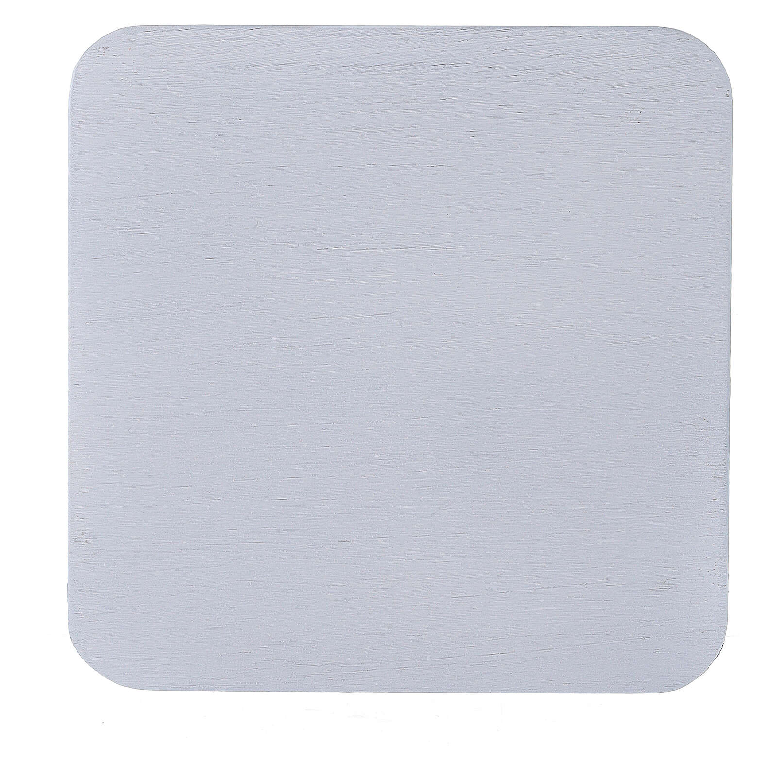 Square candle holder plate in white aluminium 4 3/4x4 3/4 in 3