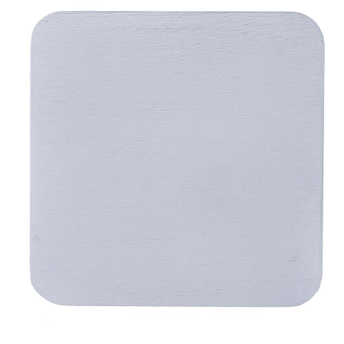 Square candle holder plate in white aluminium 4 3/4x4 3/4 in 2