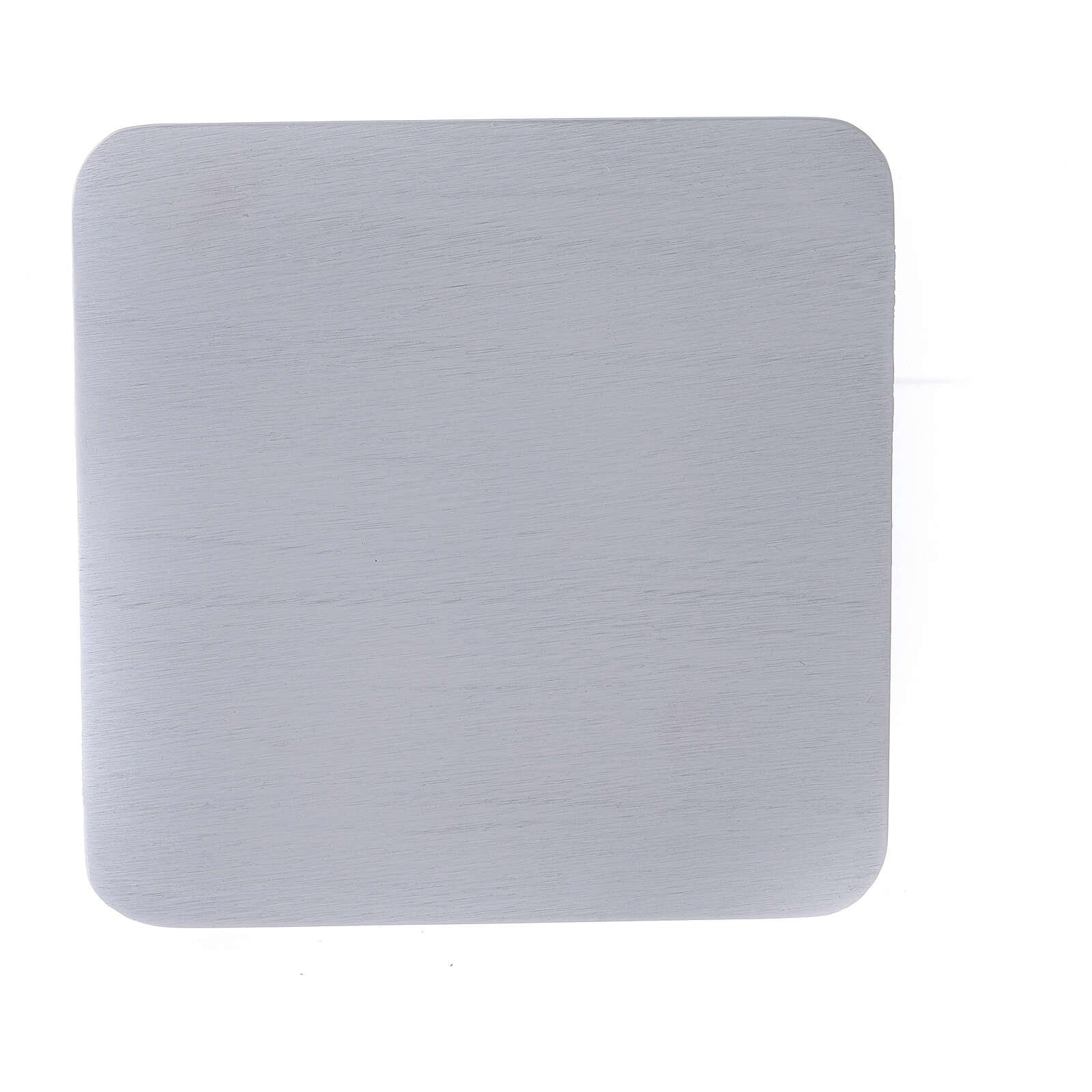 Plato portavela aluminio blanco cuadrado 14x14 cm 3