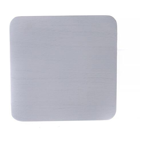 Assiette porte-bougie aluminium blanc carrée 14x14 cm 2