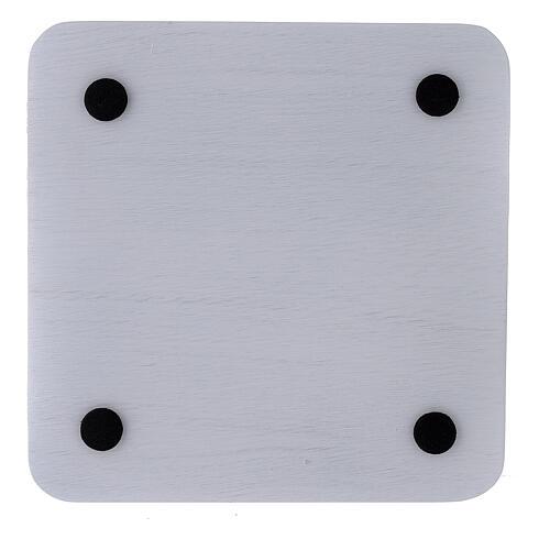 Assiette porte-bougie aluminium blanc carrée 14x14 cm 3