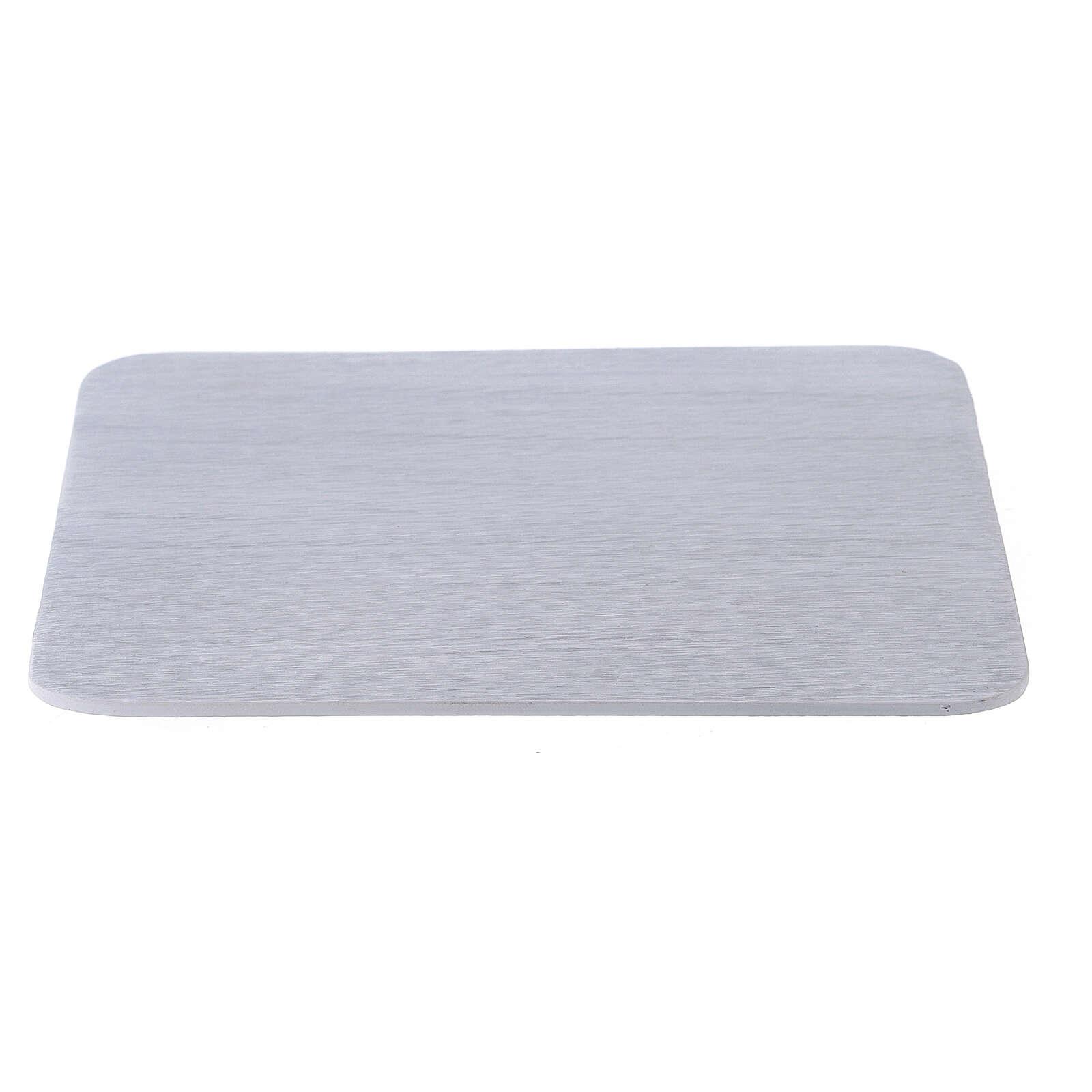 Piatto portacandela alluminio bianco quadrato 14x14 cm 3